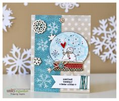 Snowglobe winter wishes card using Unity Stamp Company stamps.