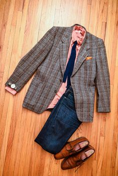 """- Lands End Canvas Oxford Button Down - Thrifted - Conte Di Roma Suit Jacket - Thriftd - Silk Knit Tie - Thrifted - Silk Pocket Square - Thrifted - Timex Weekender - Metal Band - Levi's Made and Crafted """"Tack"""" Slim - Allen Edmond Clifton Cap Toe"""