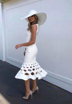 Little White Dress Formal 49 Ideas Elegant Dresses, Cute Dresses, Beautiful Dresses, Formal Dresses, Little White Dresses, White Outfits, Kentucky Derby Fashion, Kentucky Derby Outfit, Races Outfit