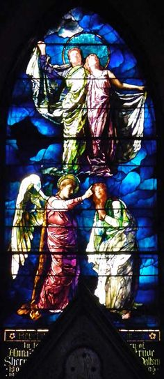 LaFarge Side Chapel Windows ; Trinity Episcopal Church  389 Delaware Avenue, Buffalo, NY; Designer: John LaFarge; Date installed: 1886 ; Style: Opalescent; The Sealing of the Twelve Tribes; installed: 1890? (after the 1889 Exposition Universale in Paris)