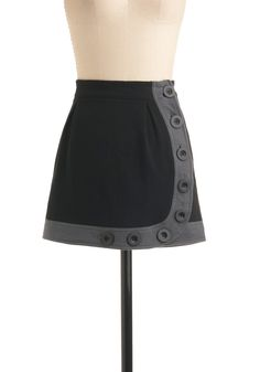 Riding the Underground Skirt by Knitted Dove - Black, Grey, Solid, Buttons, Trim, Casual, Fall, Winter, Mini, Short