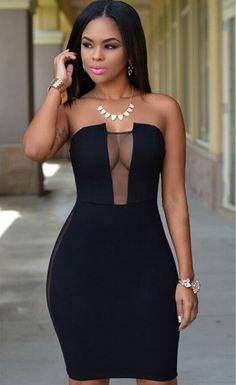 Black Mesh Accent Strapless Dress - Stella La Moda