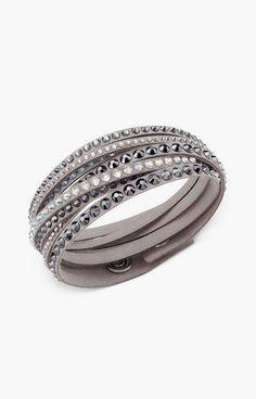Swarovski Bracelet, Light Gray Fabric Crystal Stud Wrap Bracelet #sponsored