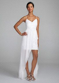 Spaghetti Strap Beaded Bodice with High-Low Skirt - from David's Bridal
