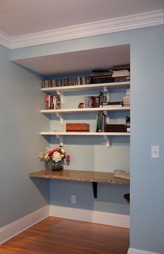 Shelves above a new desk.