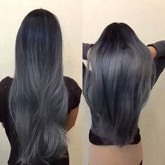 Smoky brunette hair by Artist Credit to Come charcoal gray hair Long hair Long straight hair hotonbeauty.com