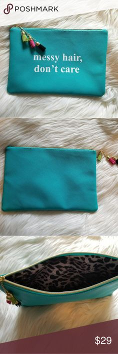 """NWOT* Multipurpose Pouch* Great for Christmas NWOT* Multipurpose Pouch* Great for Christmas or Secret Santa Gift* Great quality and plushly lined with beautiful interior*  """"Messy Hair, Don't Care"""" Approx. Dimensions :Width/Length 12"""" and Height 8"""" * *Roomy Statement Pouch w/tassels* Can use for Makeup, Hair items, and more* Reasonable offers accepted* Bundle & Save* Accessories"""