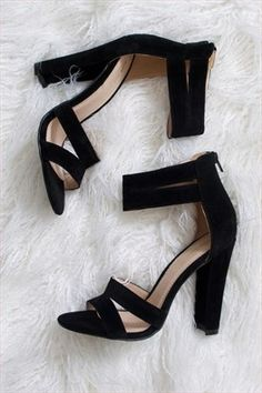 Addison Heels: On Sale. Final Sale. Sleek black velvet heels perfect for every occassion. Double strap across toe and double strap around ankle. Back zipper. 4