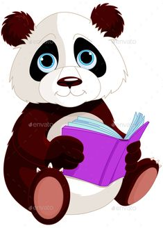 """Buy the royalty-free Stock vector """"Cute Panda is reading a book. Education"""" online ✓ All rights included ✓ High resolution vector file for print, web & . Panda Lindo, Avengers Coloring Pages, Love Smiley, Book Clip Art, Picture Mix, School Frame, Medical Illustration, Photoshop, Cute Panda"""