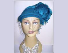 Vintage 1940s Hat  .Aqua . Feather . Steampunk  . by VintageDiva60
