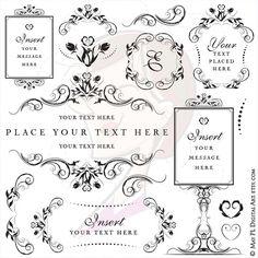 Flower Png Frames Swirl Clip Art Vintage Flourish Wedding Signage Flower Garland Design Elements Digital Stamp Craft Scrapbook Supply 10521 #Clip #Art #Vintage