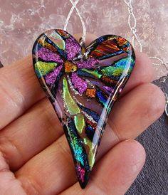 fused dichroic multi color heart