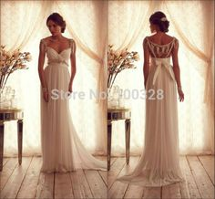 Find More Wedding Dresses Information about 2015 New Custom Made Floor Length V Neck Beading Cap Sleeve Backless Chiffon A Line High Quality Wedding Dresses Free Shipping,High Quality Wedding Dresses from Rose Wedding Dress Co., Ltd on Aliexpress.com