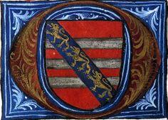 Armes de Guillaume le Pauvre (détail f°21v) -- «Martyrologe-obituaire du prieuré de La Haye-aux-Bonshommes», Anjou (France), 1475-1499 [BM d'Angers, Ms. 855] -- de gueules à trois fasces d'argent, à la bande d'azur brochant chargée de trois lionceaux d'or.