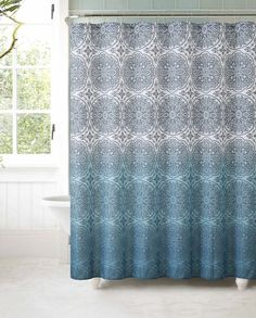 Fabric Shower Curtain with 12 Roller Ball Hooks: Teal Ombre Floral Medallion   | eBay
