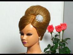 "Вечерняя прическа с начесом ""Ракушка"". French twist hairstyle for medium hair - YouTube"