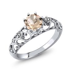 0.72 Ct Round Peach Morganite White Diamond 925 Sterling Silver Womens Ring -- Click on the image for additional details. (This is an affiliate link) #MorganiteJewelry