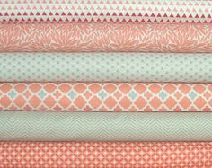 Coraline Fat Quarter Bundle of 6 in Coral & Gray by Camelot Fabrics
