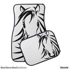 Black Horse Head Car Floor Mat Car Mats, Car Floor Mats, Horse Head, Keep It Cleaner, Initials, Horses, Flooring, Black, Design