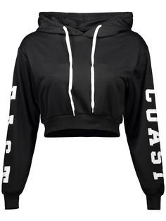 $14.52 Letter Cropped Pullover Hoodie