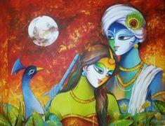 Krishna Leela, Krishna Radha, Lord Krishna, Indian Gods, Indian Art, Acrilic Paintings, Canvas Paintings, Shell Crafts Kids, Shiva Art
