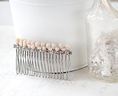 Rhinestones Hair Comb  Blush Pink Comb  by ShabbyCottageAdorned  Wear a little shimmer and shine in your hair with this rhinestones hair comb. This blush pink comb has been hand wired with glass beads and sparkly rhinestones. Feminine and oh so romantic you can wear it as a beaded wedding comb or use as a bridesmaid hair comb. But this beauty is not limited to weddings! What about date night when you want a romantic hair accessory to wow him!