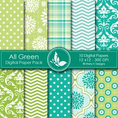 All Green  This listing is for 10 printable High Quality Digital papers.    Each paper measures 12 x 12 inch, 300 DPI, JPEG format.
