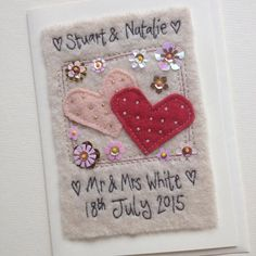 Wedding card vintage colour 41 new Ideas Free Motion Embroidery, Free Machine Embroidery, Hand Embroidery, Embroidery Designs, Handmade Wedding Gifts, Personalized Wedding Gifts, Handmade Cards, Free Wedding Cards, Fabric Postcards