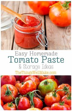 Easy Homemade Tomato Paste Recipe is part of Homemade tomato paste - Conserve excess tomatoes with an easy, homemade tomato paste that can be made on the stove top, in your oven, or in a slow cooker Tomato Paste Recipe, Homemade Tomato Paste, Homemade Sauce, Tomato Paste Substitute, Tomato Paste Sauce, Homemade Tomato Ketchup, Home Canning Recipes, Cooking Recipes, Healthy Recipes