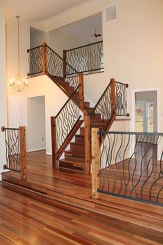 Wrought Iron Interior Railing Artisan Bent Design... Different but I kind of like it it the wood was a few tones darker