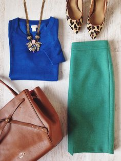 blue, green, camel, leopard work outfit - might need to try Office Fashion, Work Fashion, New Flame, Work Wardrobe, Work Attire, Dress To Impress, Primary Colors, Ideias Fashion, What To Wear