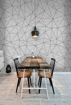 Polygonal lines and circles removable wallpaper black and white wall mural wall art #390