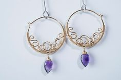 Purple Amethyst Gemstone Hoop Earrings Gold Swirling Vine Filigree, Lavender, Radiant Orchid