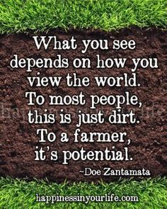 """What you see depends on how you view the world. To most people, this is just dirt. To a farmer, it's potential."" - Doe Zantamata"