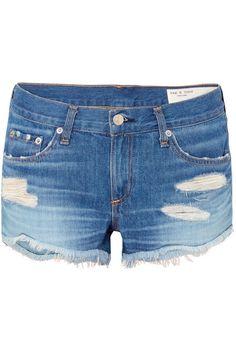 5dc7e7965a rag & bone - Distressed Denim Shorts - Mid denim Blue Denim, Distressed  Denim Shorts