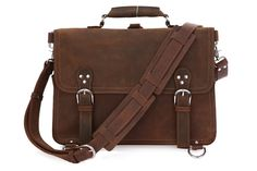 "Vintage Leather Briefcase Bag 16"" via Vintage Leather Bags. Click on the image to see more!"