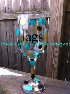 Jacksonville Jaguars Inspired Wine Glass 20oz on Etsy, $12.00
