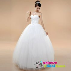 Style 5031, Classic Organza Ball Gown Sweetheart Chinese Wedding Dress by CBG.