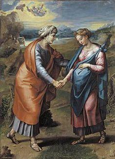 """Raphael - The visitation.- La Visitazione è un dipinto a olio su tavola trasportata su tela (200x145 cm) di Raffaello Sanzio e aiuti, databile al 1517 circa e conservato nel Museo del Prado di Madrid. L'opera è firmata su una pietra in primo piano """"RAPHAEL URBINAS F.[ecit] MARINVS BRANCONIVS F.F""""."""