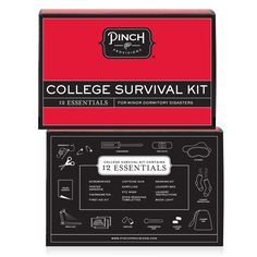 College Survival Kit by Pinch Provisions includes: book light, caffeine gum, eye mask, earplugs, first aid kit, thermometer, laundry bag, laundry instructions, mending kit, 3 stain removing towelettes, screwdriver, and poster adhesive. $25.00