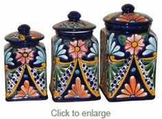 This three piece hand painted Talavera canister set will look great in any southwest or Mexican decor kitchen. Mexican Kitchen Decor, Mexican Home Decor, Mexican Kitchens, Mexican Art, Mexican Style, Canister Sets, Canisters, Pastel Room, Mason Jars