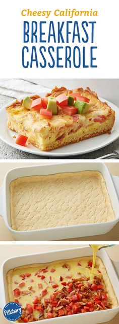 Cheesy California Breakfast Casserole: This cheesy breakfast bake is made with a flaky crescent crust and topped with fresh avocado.