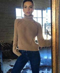 sweater turtleneck turtleneck sweater emily ratajkowski instagram jeans heavy knit jumper