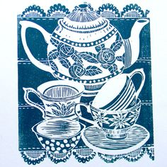 lino prints teapot and cups