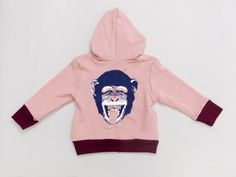 Buy 1 Get 1 Free - Chimpanzee hoodie for toddlers (Choose blue / pink), kids clothing, zipper sweatshirt, children's clothes, boys and girls...