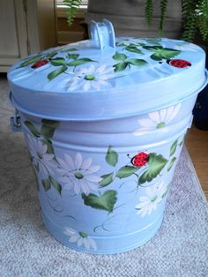 6 Gallon Hand Painted Galvanized Trash Can by krystasinthepointe, $59.00
