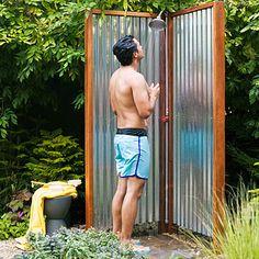 DIY outdoor shower.