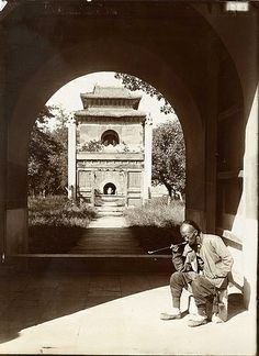 "China, Peking Beijing 1907 ""Entrance to the tomb of Yung Lo. "" Photograph by Herbert Ponting ..."