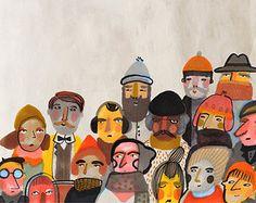 Personas 1 Giclee lámina 8 x 8 ilustración venta por meszely
