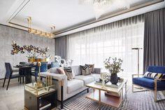 Blue white gold dining living room